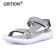 GRITION Women Sandals Fashion Summer Lightweight Beach Ladies Flat Platform Casual Walking Shoes Comfortable Blue Gray Green New