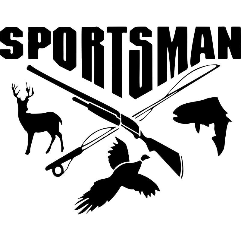 17.8CM*14CM Sportsman Hunting Fishing Deer Fish Gun Car Stickers Decals Decor Decoration Auto Accessories C8-0738 14 grey deer mongolian dagger with sheath