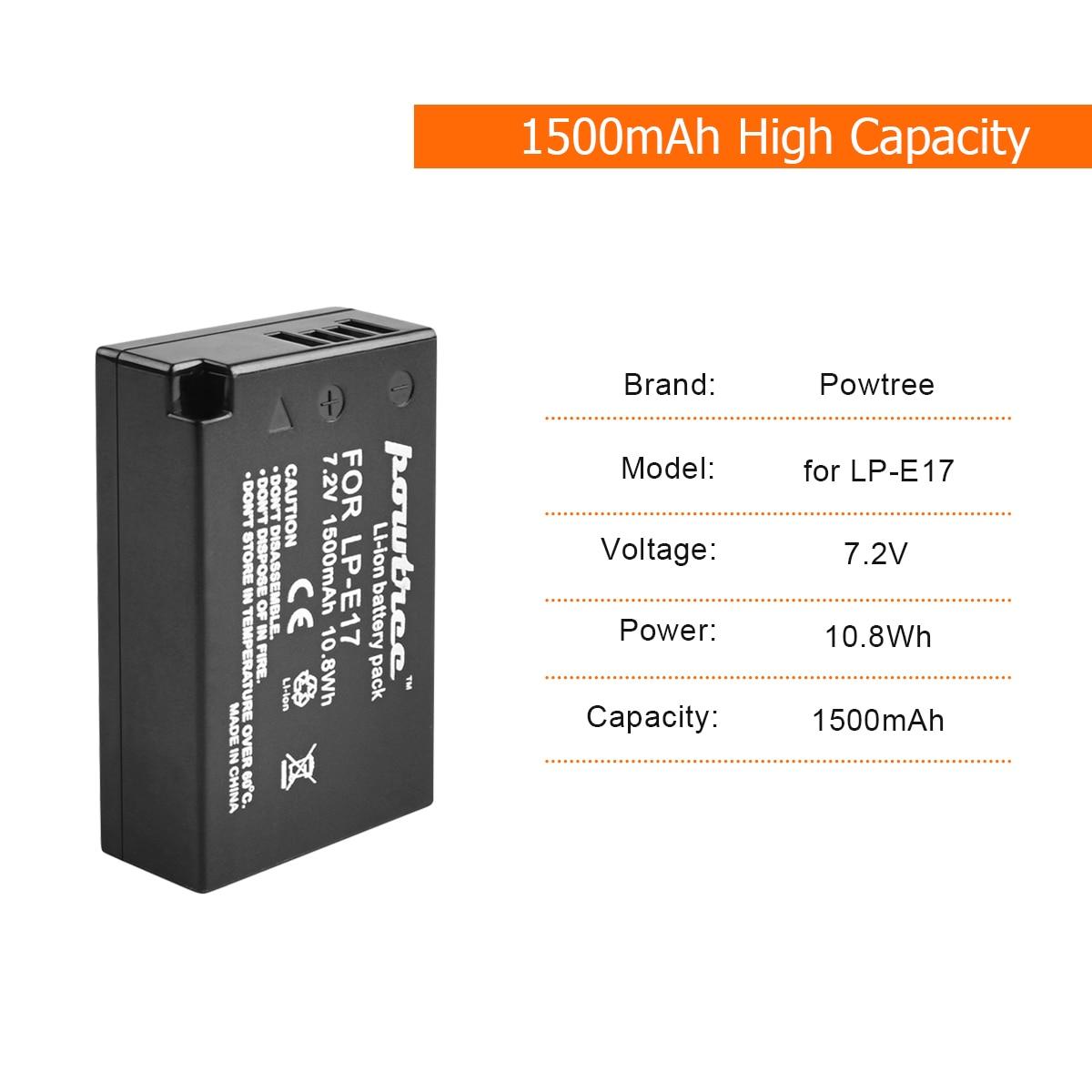 1Packs 7 2V 1500mAh LP E17 LPE17 LP E17 Camera Battery USB Charger For Canon EOS M3 M5 750D 760D T6i T6s 8000D Kiss X8i L15 in Digital Batteries from Consumer Electronics