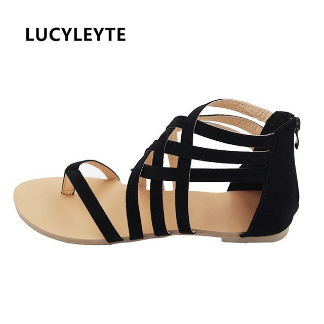 80831c11cc3fdb Europe and the United States Foreign trade Women s shoes Large yard Flat  with Roman sandals Cross strap Rubber bottom shoe
