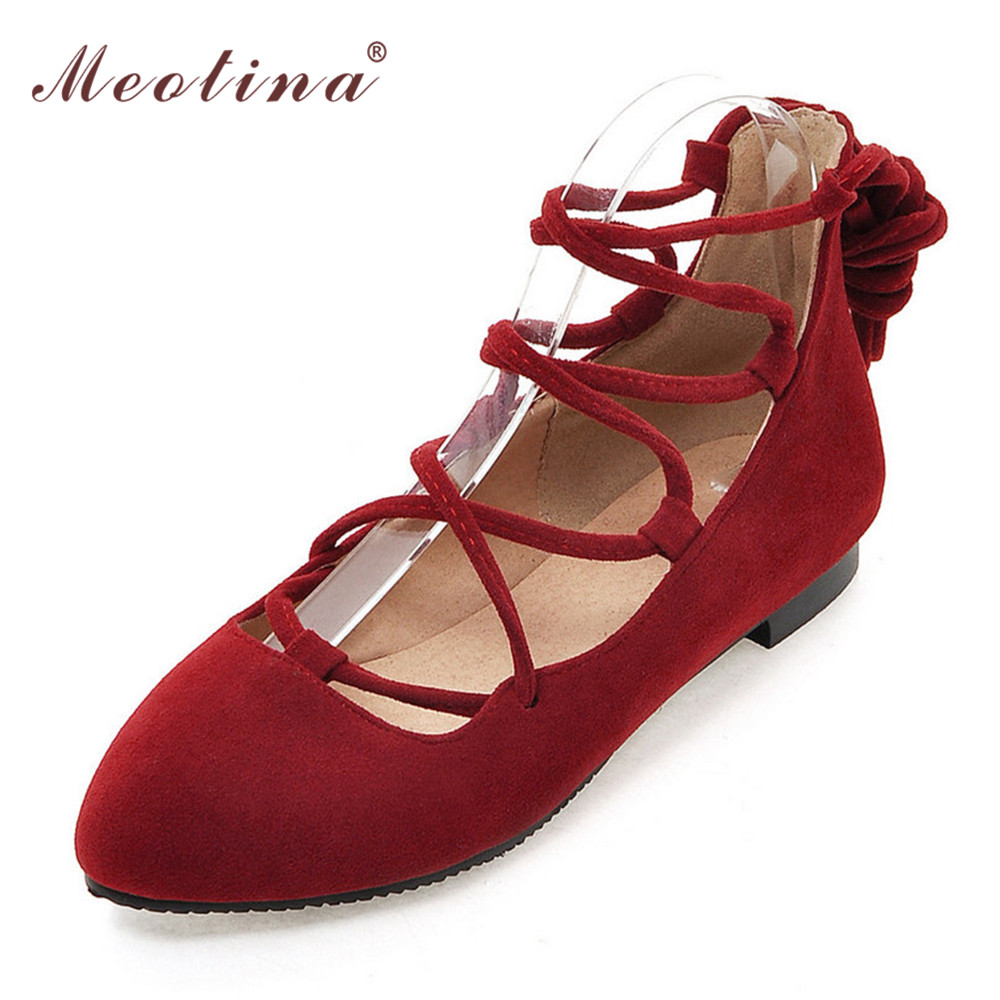 Meotina Women Shoes Ladies Flat Shoes Pointed Toe Ballerina Flats Gladiator Shoes Cutout Lace Up Footwear Red Big Size 10 42 43 meotina brand design mules shoes 2017 women flats spring summer pointed toe kid suede flat shoes ladies slides black size 34 39