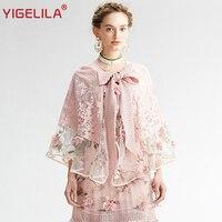 YIGELILA Brand 7367 Latest New Women Fashion Vintage Pink Lace Cape Smock 2016