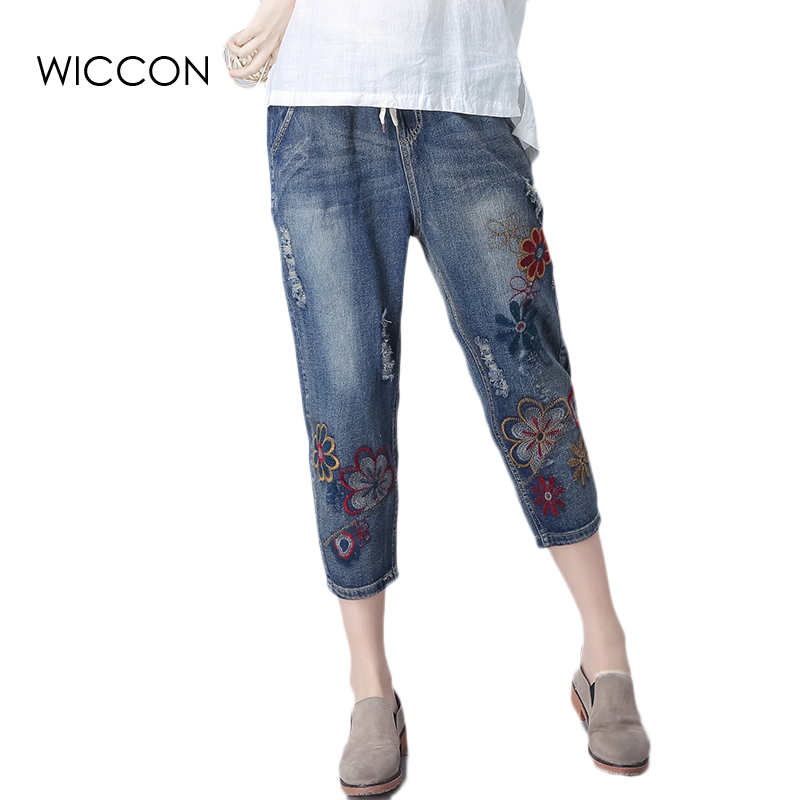 Casual Women Jeans Floral Embroidery High Waist loose straight Drawstring Ripped Fashion Calf-Length Women Denim Trousers summer new summer vintage women ripped hole jeans high waist floral embroidery loose fashion ankle length women denim jeans harem pants