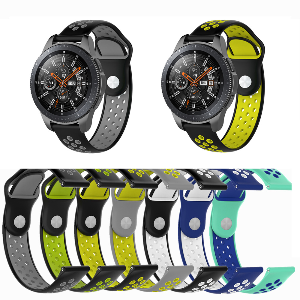 Double Color Sports Breathable Silicone Bracelet Strap Band For Samsung Galaxy Watch 46mm For Xiaomi Huami Amazfit Pace 22mm