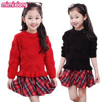 New 2017 Spring Girls Sweater Dress Sweet Heart Knit Sweaters Red Tartan Printed Dresses Black Soft