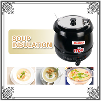ITOP Soup Kettle 10L Commercial Wet Heat Food Warmer Stainless Steel Soup Pot Removeable Cover 110V