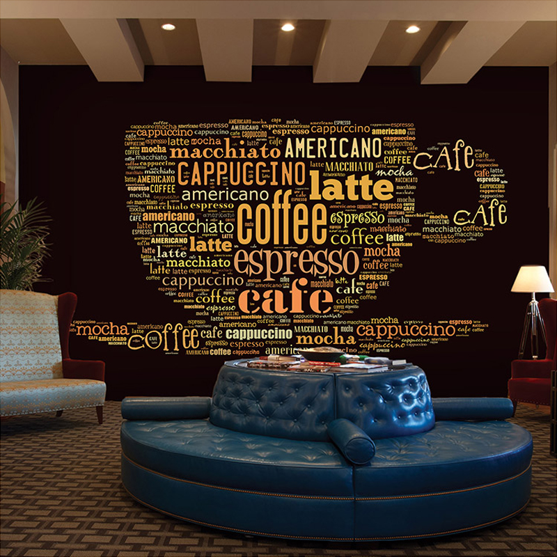 Custom European Style Leisure Coffee Shop English Letters Themed Restaurant Bar Living Room Background Wall Mural Wallpaper 3D