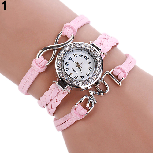 Popular Vogue Edge Love Style Watch Braided Faux Leather Bracelet Analog Quartz WristWatch for Women NO181 5V7D