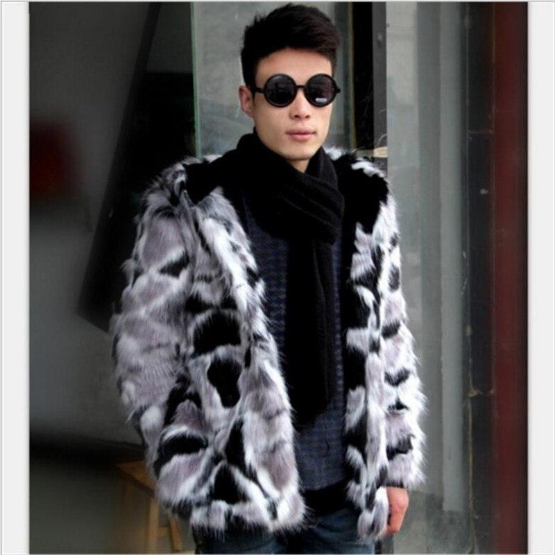 Luxury Mens Faux Fur Coats Novelty Leopard Leather Suede Jacket Men Overcoats High grade Fox Fur Warm Winter Male Jackets