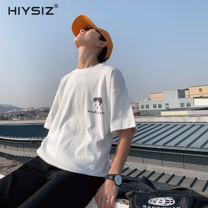 HIYSIZ 2019 Harajuku t shirt Men Summer Hip Hop tshirt Short Sleeve Casual Cotton tshirt Ship Cartoon Streetwear T shirts ST516 in T Shirts from Men 39 s Clothing