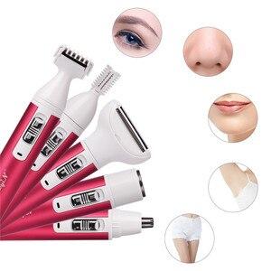 Image 2 - Afeitadora eléctrica recargable por USB 5 en 1 para mujer, depilación recargable, recortadora de nariz, afeitadora de cejas