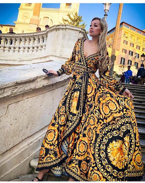 Spring vintage Print Maxi Dress  3