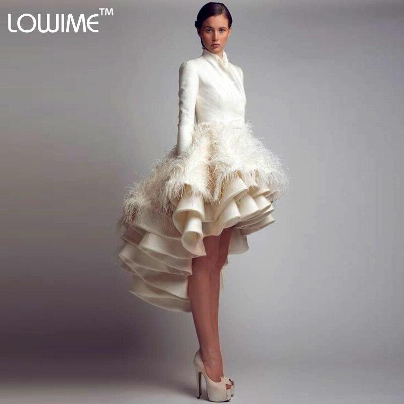 Einzigartiges Design High Low Asymmetrische Feder Prom Kleider mit ...