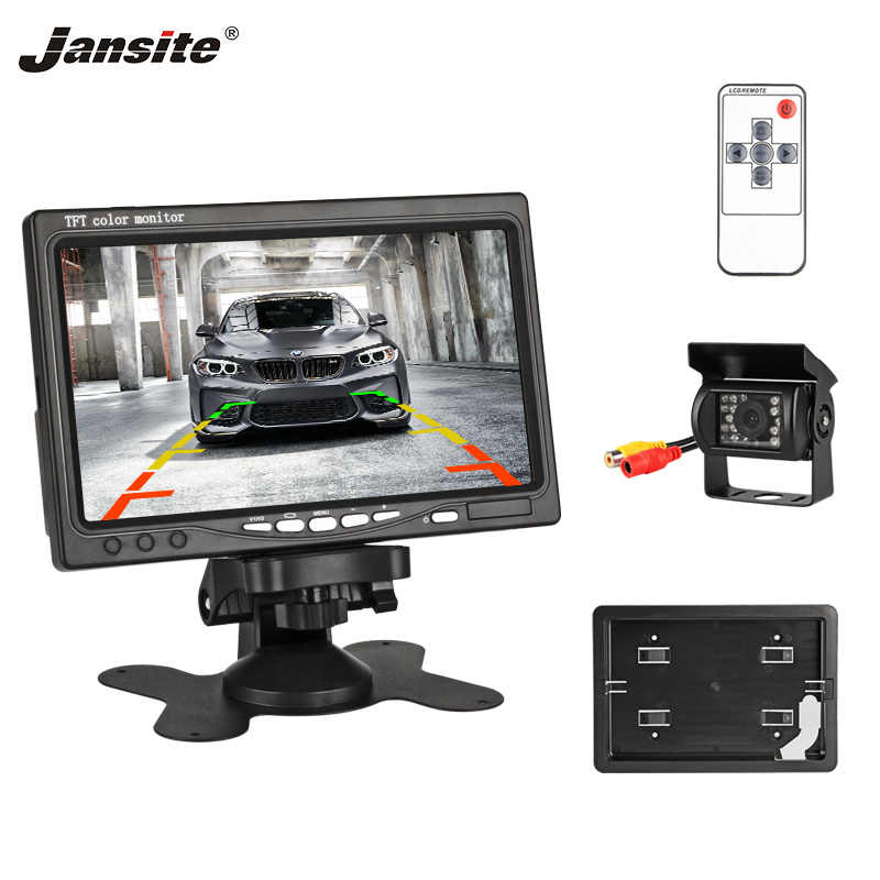 "Jansite 7"" Wired Car monitor TFT LCD Car Rear View Monitor Parking Assistance 18 LED IR Waterproof Backup Camera for Sedan Truck"
