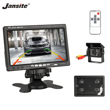 Jansite 7 Wired Car monitor TFT LCD Car Rear View Monitor Parking Assistance 18 LED IR Waterproof Backup Camera for Sedan Truck