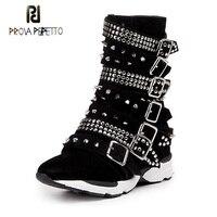 Prova Perfetto חגורת אבזם מסמרת עור זמש קוריאני סגנון נשים קצרים מגפי טריז העקב עבה בוהן עגול נעליים לנשימה מזדמנים
