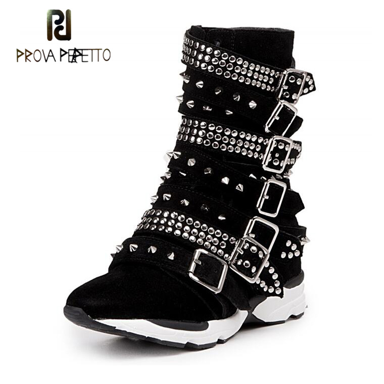 Prova Perfetto Suede Leather Rivet Buckle Belt Korean Style Women Short Boots Round Toe Thick Heel Wedge Casual Breathable Shoes prova perfetto fashion round toe low heel mid calf boots feminino buckle belt thick bottom genuine leather women s martin boots
