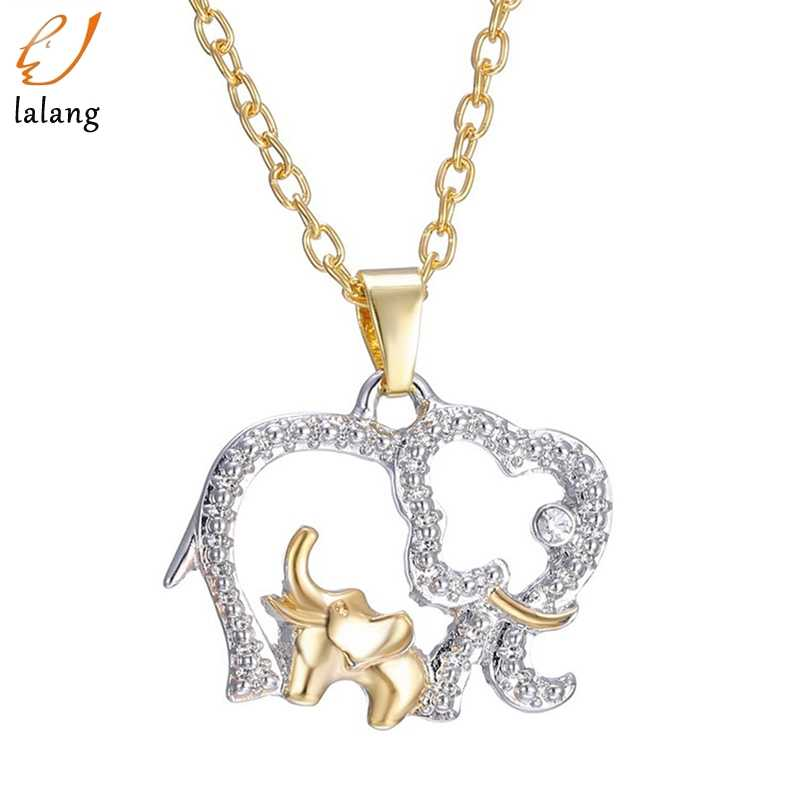 Double Elephant Necklaces For Women 2018 New Fashion Style Mama Baby Pendants Women Female Jewelry Mom Gifts