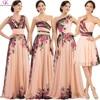 Grace Karin Floral Flower Print Long Bridesmaid Dresses 2016 Chiffon Modest Cheap Plus Size Wedding Bridesmaid