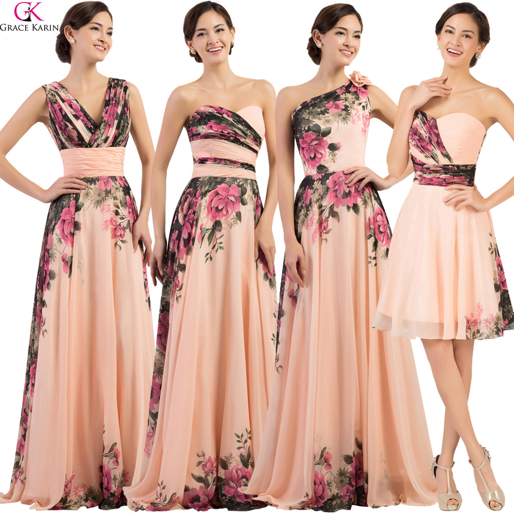 Grace Karin Floral Flower Print Long Bridesmaid Dresses 2017 Chiffon Modest Cheap Plus Size Wedding Bridesmaid Dresses Under 50