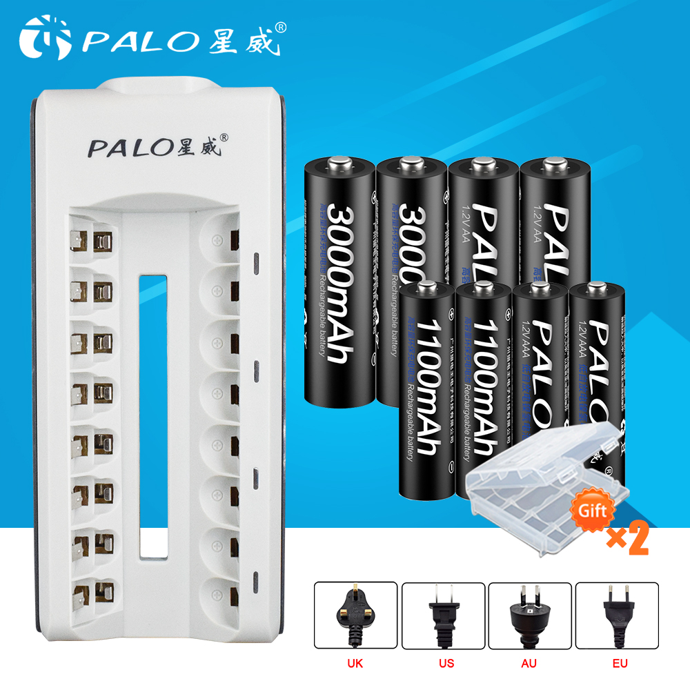PALO 8 slots smart battery charger for AA/AAA rechargeable battery+4pcs AA3000+4pcsAAA1100 mAh NiMH rechargeable batteries