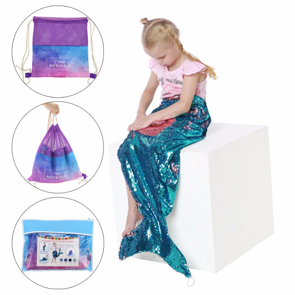 Kids Children Reversible Sequins Mermaid Tail Blanket Throw Bed Wrap Super Soft Sleeping Bed Costume Blankets Drop Shipping
