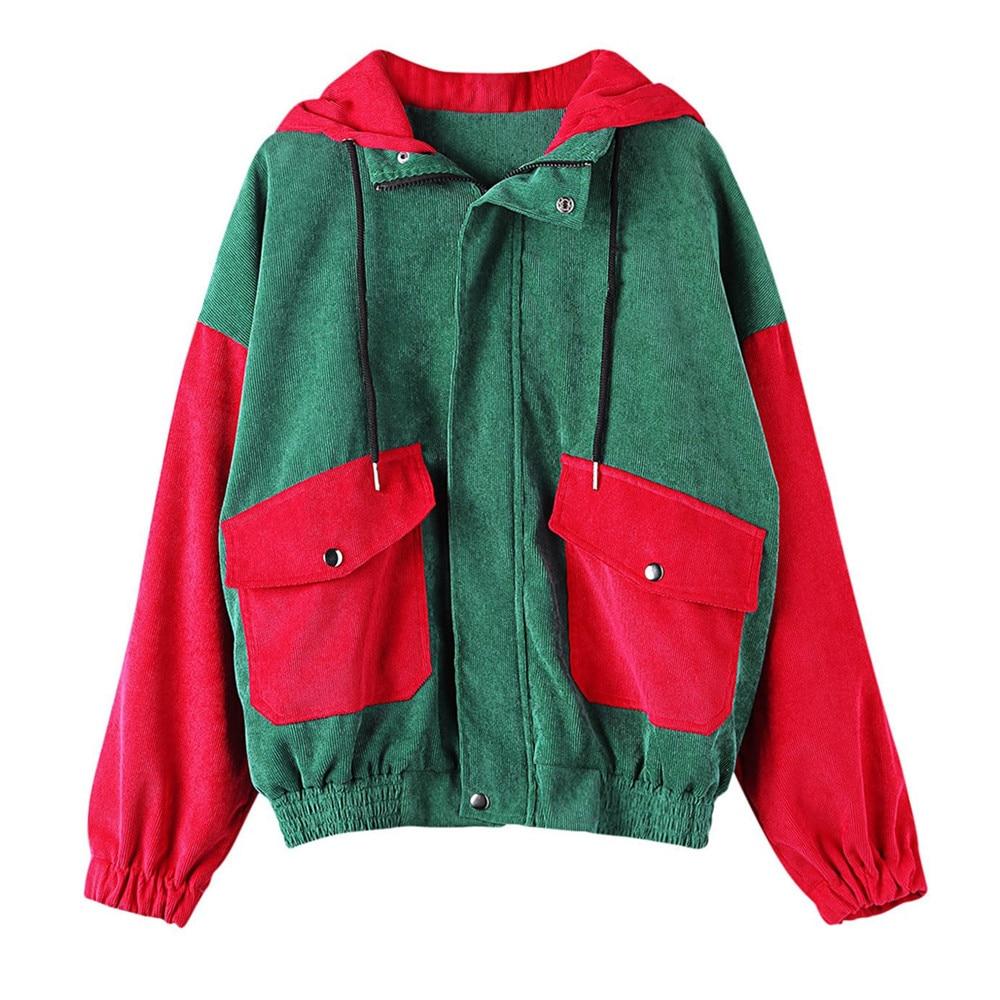 Feitong 2019 Fashion Women Corduroy Hoodie Patchwork Pockets Jacket Windbreaker Hooded Coat Overcoat High Quality