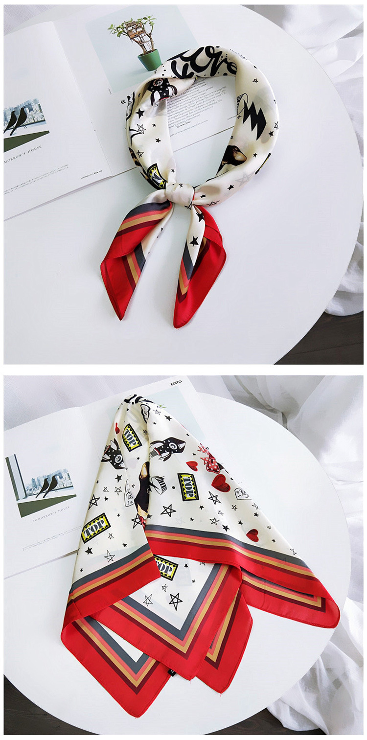 HTB150McLxnaK1RjSZFBq6AW7VXar - 70*70cm Fashion Kerchief Cartoon Scarf For Women Animal Print Hair Scarf Female Square Neckerchief Cute Headband Scarves