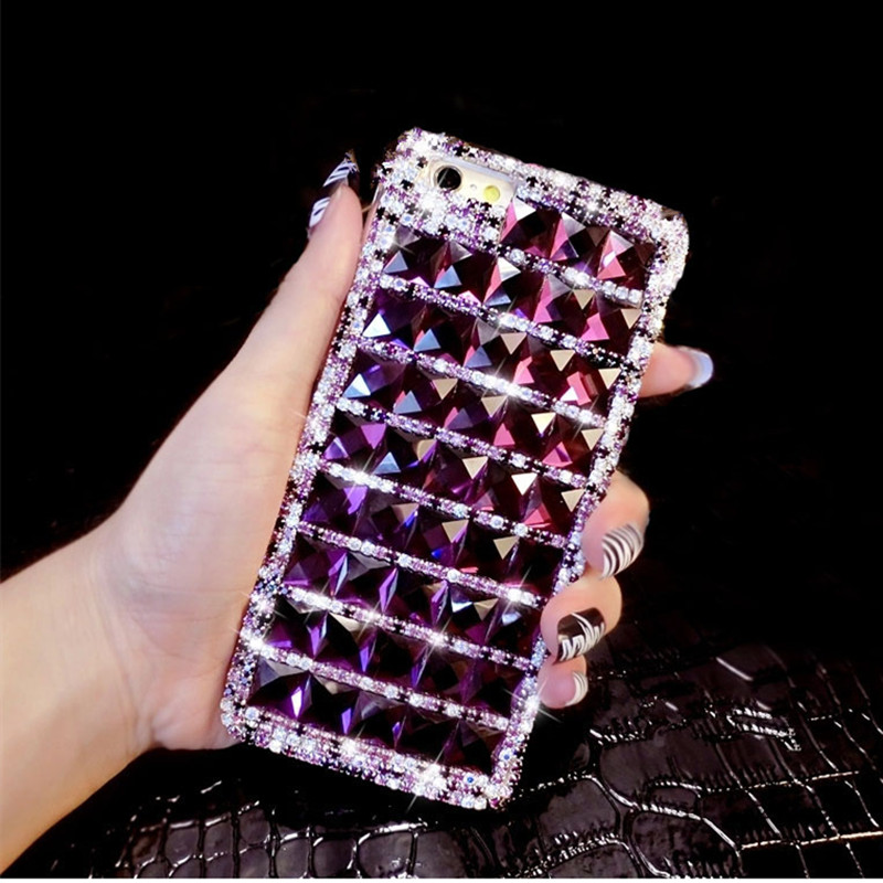 Dower Me Bling Purple Diamond Funda para iPhone XS Max XR X 8 7 6 6S - Accesorios y repuestos para celulares - foto 1