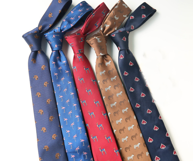 Fashion Men's Tie 6CM Flamingo Elephant Print Animal Neck Tie For Men Business Causal Fashion Party Wedding Accessories