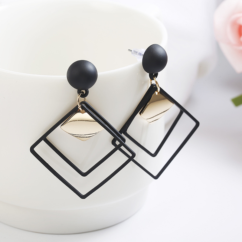Korean Sequins Geometric Square Dangle Earrings Long Pendant Elegant Statement Female Fashion Jewelryl