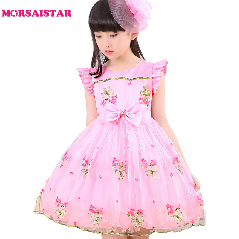 Подробнее о costume for kids girls summer dress for party and wedding princess ball gown bow embriodery lace flower girl dress free shipping girl dress 2016 spring summer daisy flower girls dresses for party and wedding kids clothes brand princess costume girl vestidos