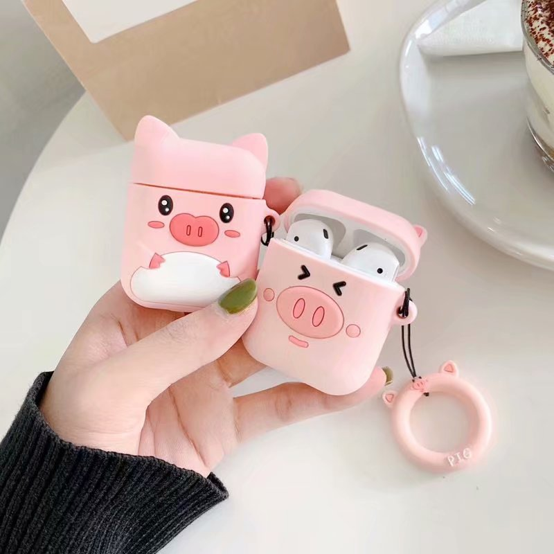 Anti-lost Earphone Case For Apple Airpods Cute Women Girls 3D Cartoon Pink Pig For Airpods Soft Silicone Cover With Ring Strap