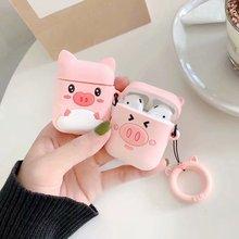 Anti lost etui na słuchawki do apple Airpods śliczne kobiety dziewczęta 3D Cartoon różowa świnia do Airpods miękki silikonowy pokrowiec z paskiem na pierścionek