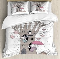 Duvet Cover Set, Bunny Family Living Inside the Hollows of a Tree Rainy Weather Flying Pink Birds, 4 Piece Bedding Set
