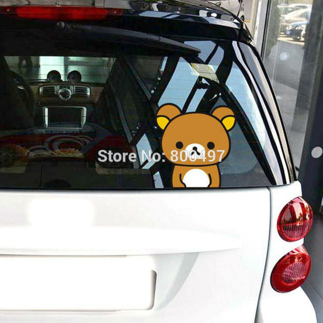 Newest car styling cartoon bear rilakkuma peering car stickers car decals for toyota chevrolet volkswagen fiat