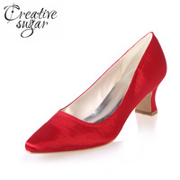 Comfortable Satin Dress Shoes Hoof Heel Bridal Wedding Party Prom Evening Pumps Mid Heel Red Royal