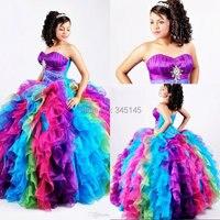 Suknia balowa Rainbow Quinceanera suknie Puffy Organza Bling kryształowe cekiny słodkie 16 suknia korowód sukienka księżniczka gorset Prom w Suknie Quinceanera od Wesele i imprezy na