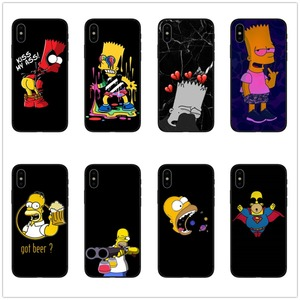 Homer J.Simpson Black Silicone phone Case cover For iPhone 5 5S SE 6 6s 7 8 Plus X 10 XR XS Max Bart Simpson funny cartoon coque(China)