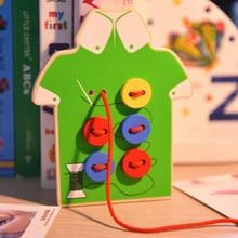 Дети Обучающие игрушки Монтессори дети пришить на кнопку деревянные игрушки Обучающие принадлежности розовый жадность GYH
