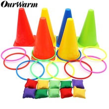 OurWarm  3 In 1 Birthday Party Games Traffic Cone Ring Toss Game Quoits Throw Hoop Indoor Outdoor Family School Supplies