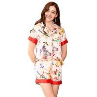 Ladies Sexy Silk Satin Pajama Set Pyjama Set Short sleeve V neck Sleepwear Summer Home Wear For Women nightgown Sleep Wear