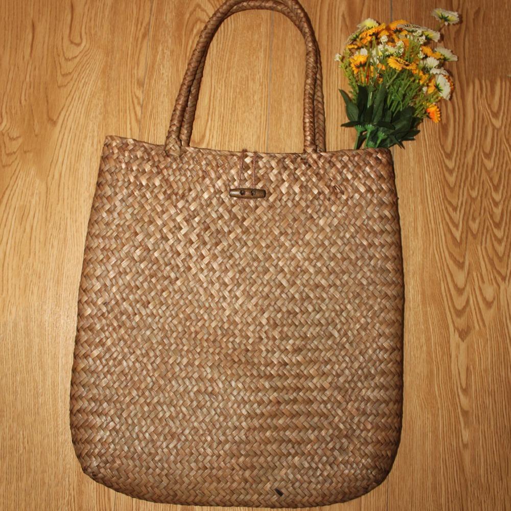 FGGS-Women Handbag Summer Beach Bag Rattan Woven Handmade Knitted Straw Large Capacity Totes Women Shoulder Bag Bohemia New 13