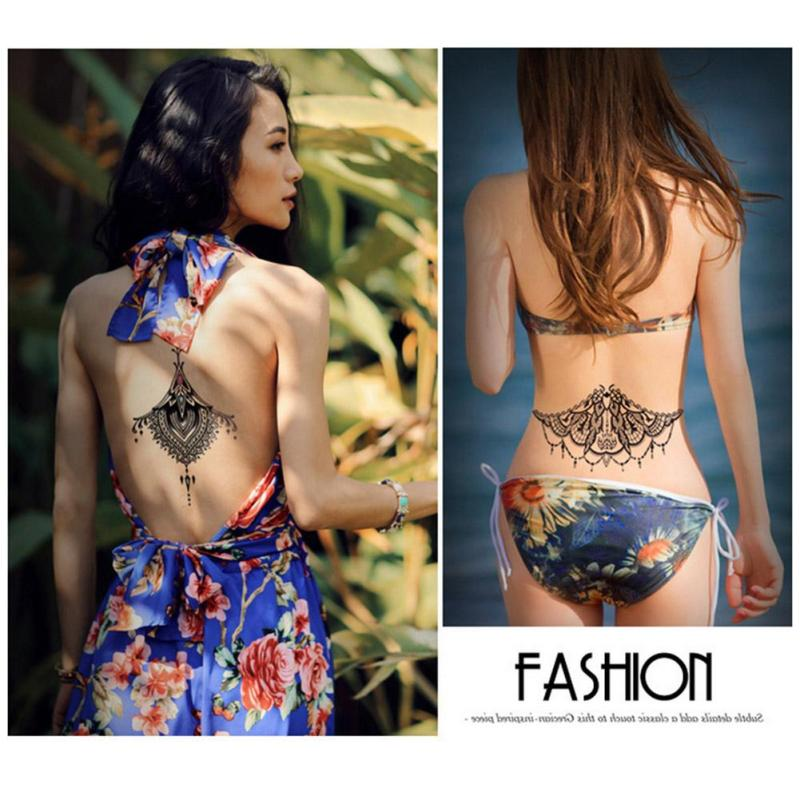 temporary Tattoo Black Waterproof Tattoo Sticker women Men Body Art Arm back Sleeve Tatoos A6 4