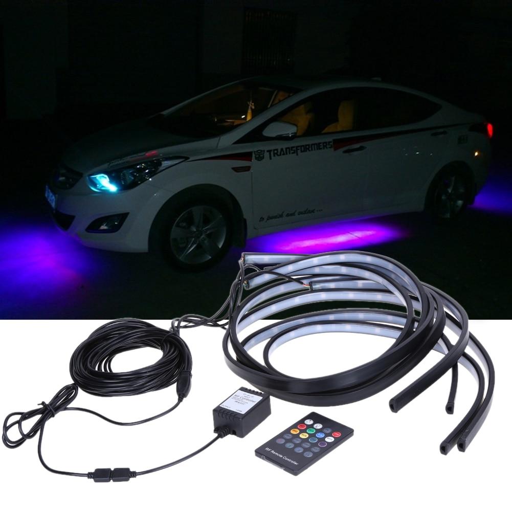 Prix pour 90/120 cm De Voiture RGB LED Bande 5050 SMD DC12V 6000 K RGB LED Strip Sous Voiture Tube Underglow Underbody Système Neon Light Kit