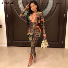 f90017d20cc1 2019 New Sexy Stand Neck Skinny Rompers Zippers Long Sleeve Print Womens  Jumpsuit Streetwear Plus Size