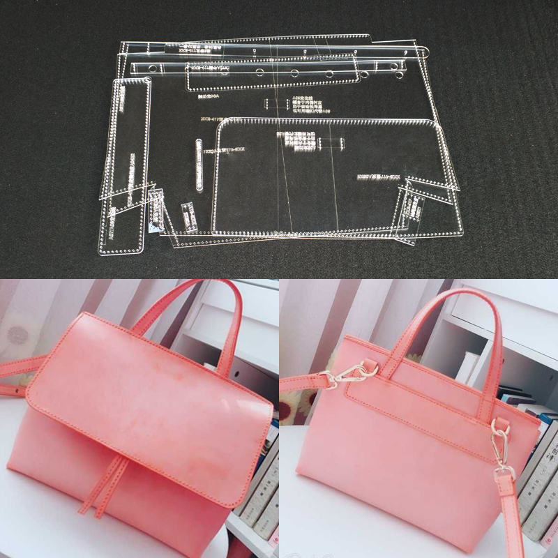 Handmamde Woman Shoulder Bags Acrylic Template Leather Pattern DIY Hobby Leathercraft Sewing Pattern Stencils 29x24x9cmHandmamde Woman Shoulder Bags Acrylic Template Leather Pattern DIY Hobby Leathercraft Sewing Pattern Stencils 29x24x9cm
