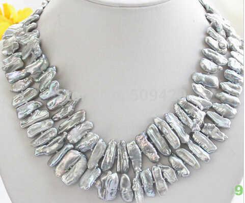 816送料無料aaa00690 + +光沢2rowグレー琵琶真珠のネックレス