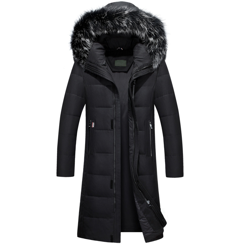 2018 Winter New Over-knees Length   Down     Coat   Man Plus Size Thick Big Fur Collar Winter Parka Men