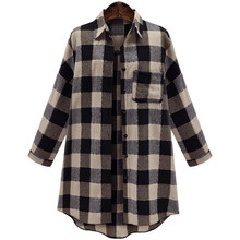 Fashion Women's Long Plaid Loose Casual Shirt Full Sleeve Turn Down Collar Cotton Blends Top Clothing